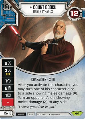 COUNT DOOKU  Star Wars Destiny Rare Card w// Die #9